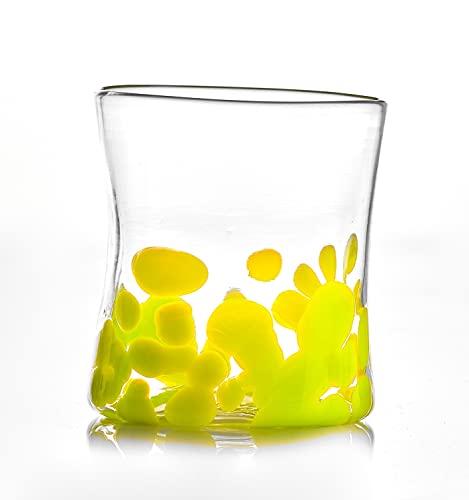 GOTO Bicchiere Singolo Colorato Vetro di Murano 300 millilitri, Lavorato a Mano da un Maestro Vetraio Veneziano (Collezione Mirò, Verde Lime)