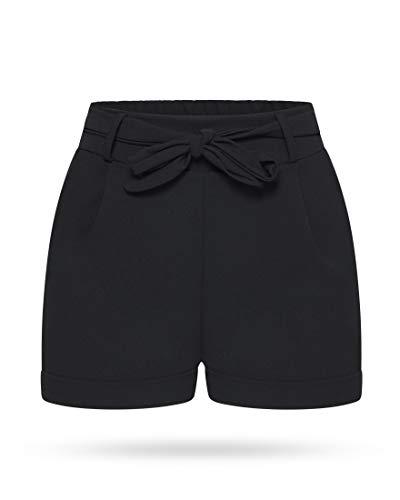 Kendindza Damen Sommer Shorts | Kurze Hose mit Schleife zum binden | Bermuda | Uni-Farben (S/M, Schwarz)