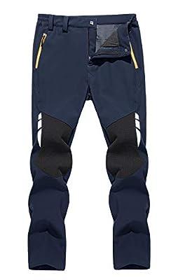 TACVASEN Men's Hiking Fleece Lined Ski Pants Water Resistant Reinforced Knees Winter Pants Navy, 30