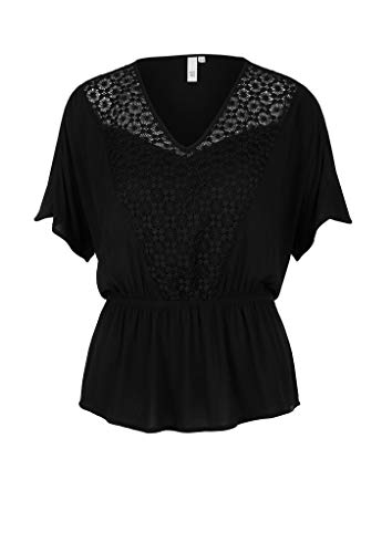 Q/S designed by - s.Oliver Damen Bluse Kurzarm Black 36