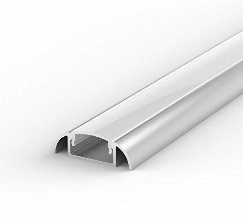 SET: Profil LED, 100cm Profil LED für 8/10mm LED Streifen, aluminium led profil + Abdeckung Opal LT2 (Milchig)