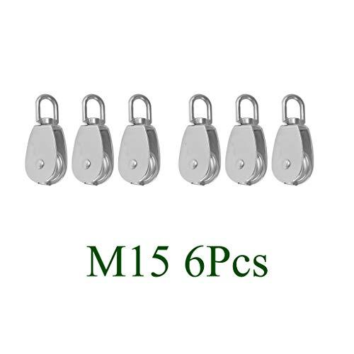 Shiwaki 6 Unids Polea de Grua Giratorio Metal Plateado, para Elevación Industrial y Transporte de Carga