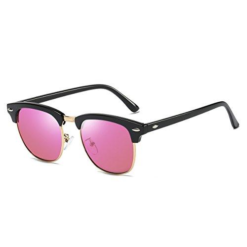 Rocf Rossini Gafas de Sol Mujer Polarizadas Medio Marco Classic Horn Rimmed Gafas para Hombres Vintage Conducción CAT.3 Protección UV400 (Negro/Rosa)