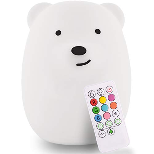 LumiPet Children's Huggable Silicone LED Nightlight, Remote Operated, USB Rechargeable Battery, 9 Available Colors, Timer Auto Shutoff, Bear