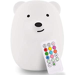 LED Nursery Bear Night Light for Kids LumiPets Cute Animal Silicone Baby Night Light with Touch Sensor – Portable and Rechargeable Infant or Toddler Color Changing Bright Nightlight & Baby Gifts