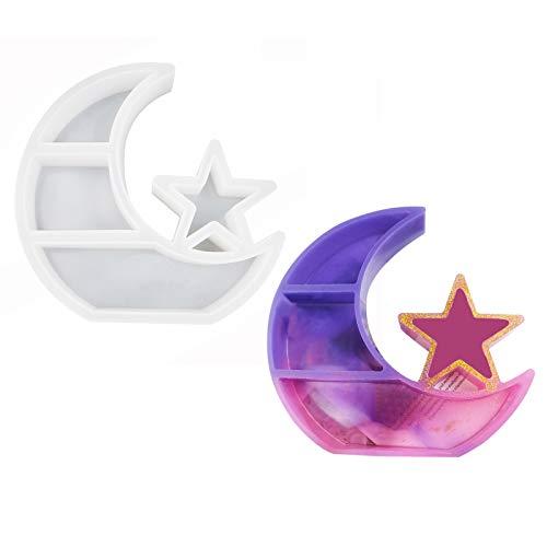 TYUTYU Estante Luna Bandeja Resina Molde Moon Star Crystal Exhibición Bandeja Placa de Joyería Placa de Resina Moldes de fundición Herramientas Artesanales (Color : A)
