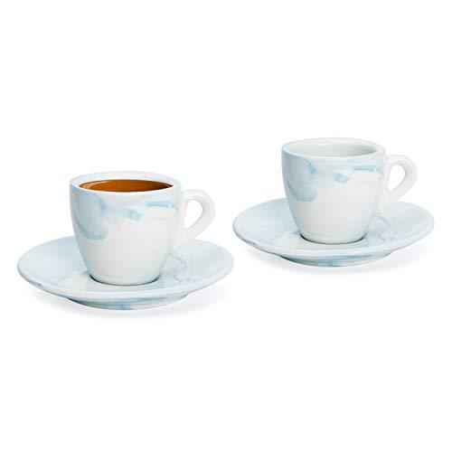Hausmann & Söhne Espresso Tassen dickwandig   Set 4-TLG   2er Set Blaue Marmor Tassen mit Untertassen   Porzellan   Tasse 80ml   Espresso Tassen Set mit Untersetzer   Geschenkidee