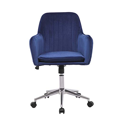 Blue Velvet Office Chair with Arms and Back Support Swivel Desk Chair for Home Office Height Adjustable Ergonomic Computer Chair with Wheels