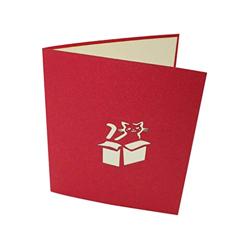 niumanery Handgemaakte Cat Hidden In Box Greeting Card with envelope Invitation Birthday Christmas Wedding Party Decoration