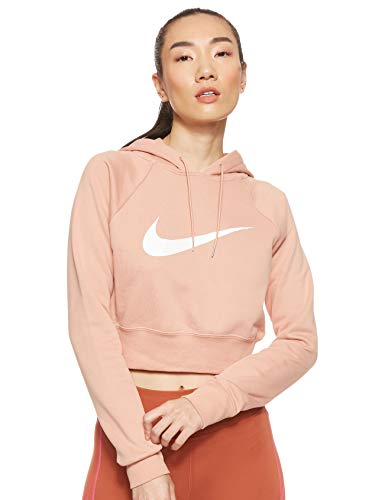 Nike Damen W NSW SWSH HOODIE CROP FT Sweatshirt, Rosé-Gold/weiß, L