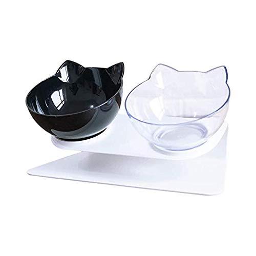 Cuencos de alimentación para gatos elevados con soporte de 15 plataformas inclinadas, color negro y blanco