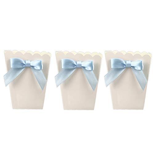 STOBOK Schleife Popcorntüten Popcorn Boxen Papiertüten Partytüte Snack Süßigkeiten Tüten Schachtel für Kinder Geburtstag Party Baby Dusche Babyparty 12 stück (Blau Bogen)