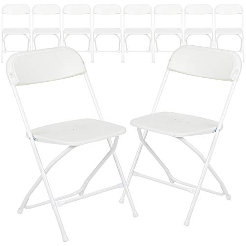 Flash Furniture 10 Pack HERCULES Series 650 lb. Capacity Premium White Plastic Folding Chair