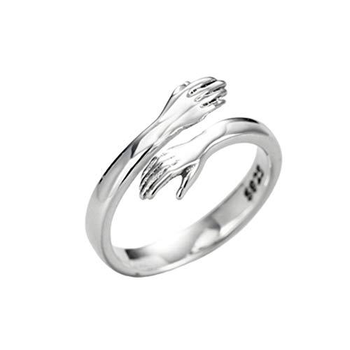 2021 Hug Ring 2 Piezas - Nuevos Anillos de Plata de Ley 925 de Moda Love Hug, Ajustable, romántico, Love Hugging Hands Ring, Anillo Abierto, Regalo para el día de San Valentín (Set)