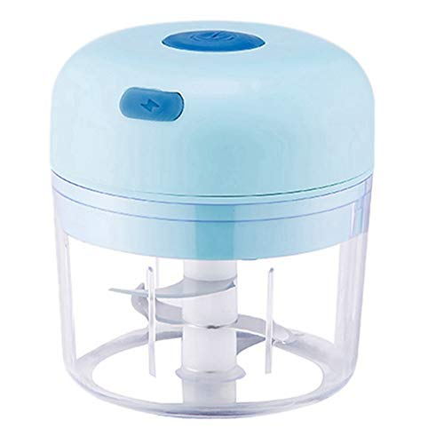 Youmine Electric Garlic Food Chopper, Portable Cordless Blender Slicer Mincer Mixer, Meat Chili Kitchen Masher 280ML,Blue