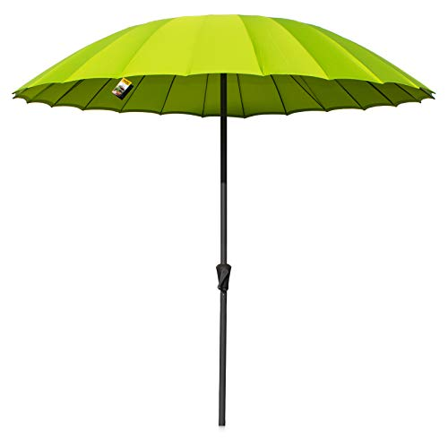 Marko Outdoor 2.5M Shanghai Parasol Outdoor Garden Furniture Patio Sunshade Canopy Umbrella (Parasol and 12KG Hampton Base - Lime Green)