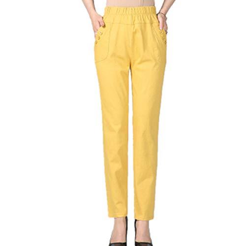 N\P La primavera y el otoño de las mujeres pantalones de cintura alta pantalones de color sólido