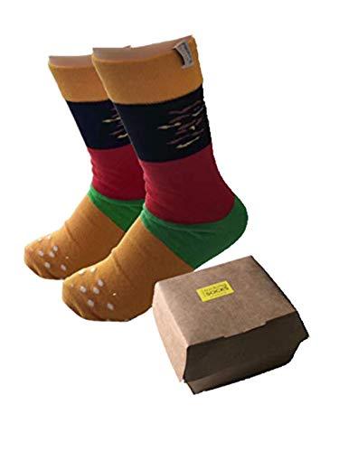 Rocking Socks Burger Socken (2 Paar) in Geschenk Verpackung für Burgerfans und Nerds, Bunt, Gr.- 41-46 EU