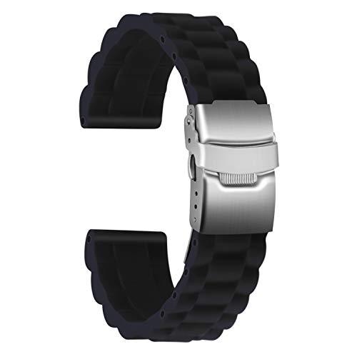 Ullchro Correa Reloj Calidad Alta Recambios Correa Relojes Caucho Link Pattern - 16mm, 18mm, 20mm, 22mm, 24mm Silicona Correa Reloj con Acero Inoxidable Hebilla desplegable (22mm, Negro)