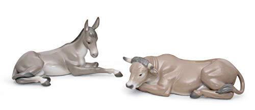 LLADRÓ Mula Y Buey En Belén. Brillo. Figura Mula (Belén) de Porcelana.