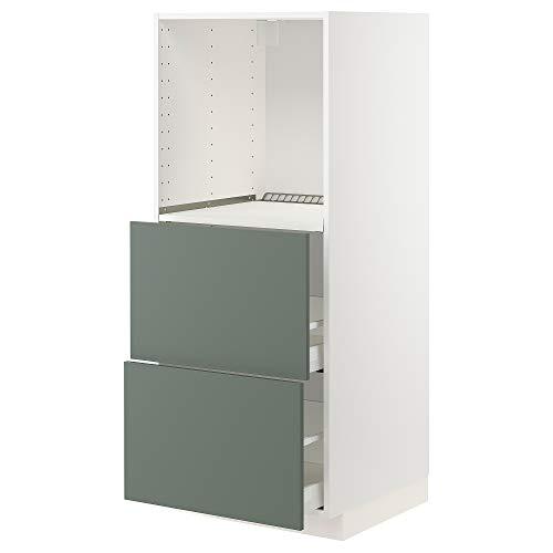 MAXIMERA/METOD armario alto con 2 cajones para horno 60x61.6x148 cm blanco/Bodarp gris-verde