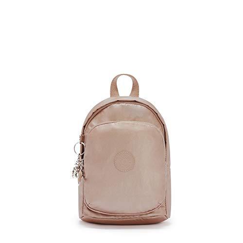 Kipling Delia Compact Metallic Convertible Backpack Rose Gold Metallic
