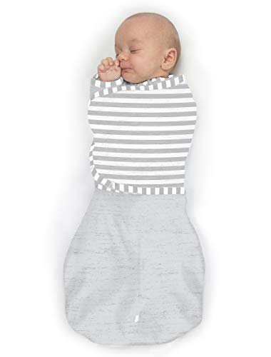 SwaddleDesigns Omni Swaddle Sack with Wrap amp Arms Up Sleeves amp Mitten Cuffs Heathered Sterling amp Stripes Small 03 Months