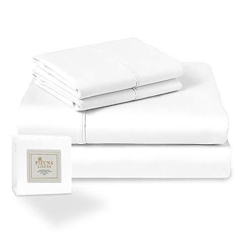 400-Thread-Count Queen Cotton-Sheets Set White, 100% Long Staple Cotton...