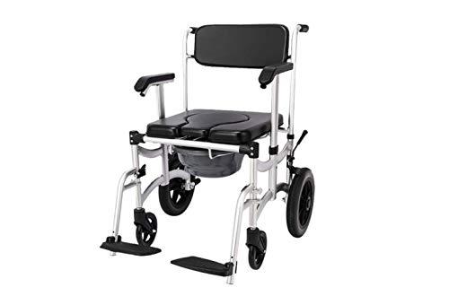 Silla de Ruedas 4 en 1 Cómoda Multifuncional Silla de Ruedas - Silla Plegable con Inodoro - con Ruedas Y Pedal - 350 Lbs - para Personas Mayores con Discapacidades,B,UNA