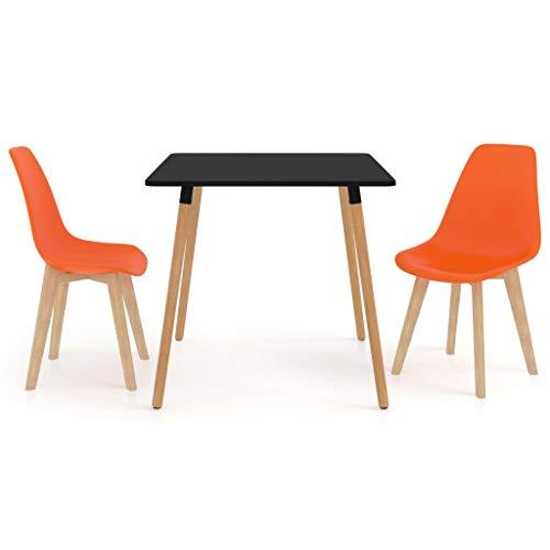 vidaXL Juego de Comedor 3 Piezas Muebles Restaurante Cocina Hogar Moderno Terraza Interior Mesa Silla Asiento Suave con Respaldo Naranja