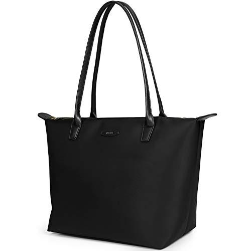 ECOSUSI Nylon Shopper Groß Tasche Schultertasche Arbeit Handtasche Tote Tasche Schwarz