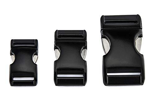 ALU MAX kliksluiting, steekgesp van lichtgewicht aluminium, mat zwart, verschillende maten, 16 mm
