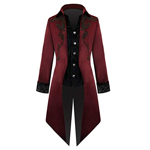 Crubelon Men's Steampunk Vintage Tailcoat Jacket Gothic Victorian Frock Coat Uniform Halloween Costume (M, RED)