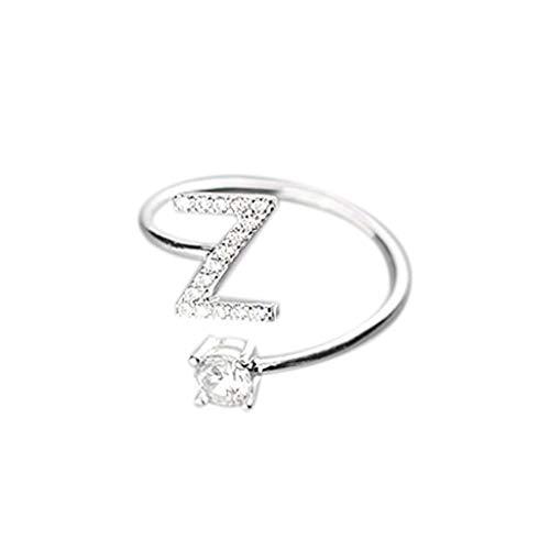LILIHOT Modische und einfache Eröffnung Ring 26 Buchstaben mit Diamantring Damenschmuck Ring für Damen Gold Solitärring Diamantring Brillianten Ring mit Diamanten Ring