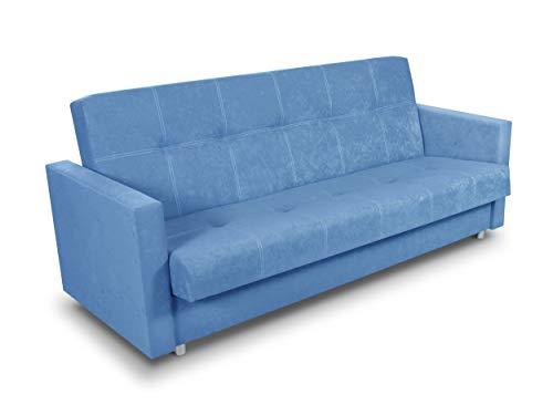 Schlafsofa Bettsofa Dave - Sofa mit Schlaffunktion und Bettkasten, Bett, Farbauswahl, Schlafcouch, Couch vom Hersteller, Couchgarnitur (Blau (Suedine 29))