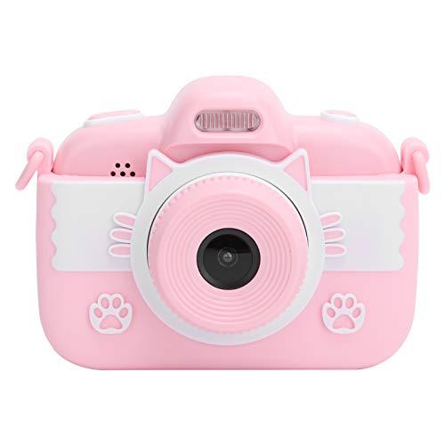 2.8 Pulgadas Pantalla Táctil Cámara Digital Portátil para Niños, Mini Full HD Cámara Digital de Diseño Lindo para Tomar Fotos y Grabar Videos, Admite Tarjeta de Memoria Máxima de 32G(Rosa)