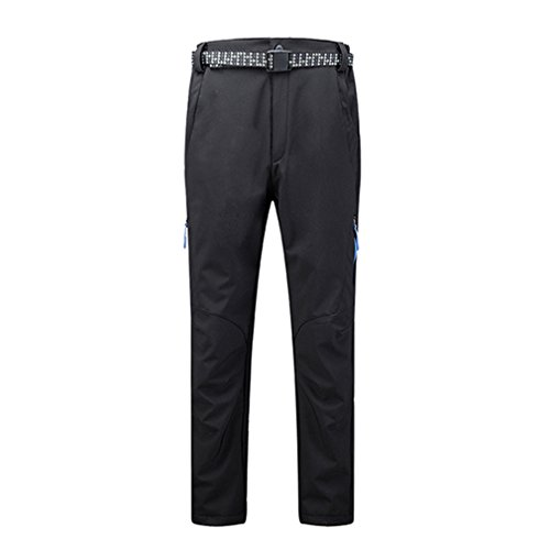 emansmoer Homme Pantalon Softshell Doublé Polaire Imperméable Respirant Outdoor Sport Pantalon de Randonnée Escalade (Large, Noir)