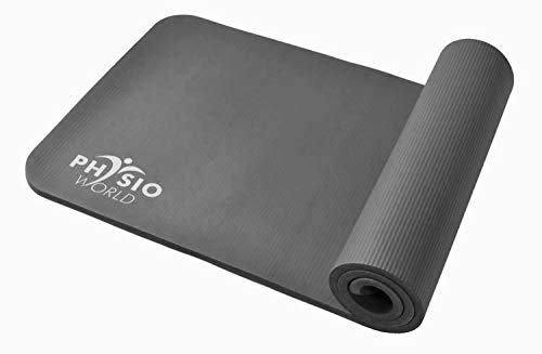 PhysioWorld–Ejercicio Mat–10mm/15mm Pilates, Fitness y Gimnasio en casa, Unisex, Exercise, Gris