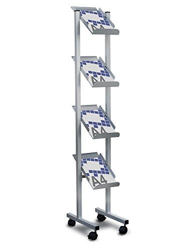 Expositor de pie móvil para folletos y revistas 4 estantes - Sistemas David