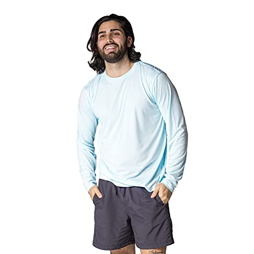 Vapor Apparel Men's UPF 50+ UV Sun Protection Long Sleeve Performance T-Shirt for Sports and Outdoor Lifestyle, X-Large, Arctic Blue