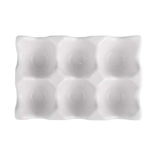 Hemoton 6 Gitter eierablagen Keramik eierhalter rutschfeste eierbox kühlschrank stoßfest eieraufbewahrung für zu Hause küche (weiß)