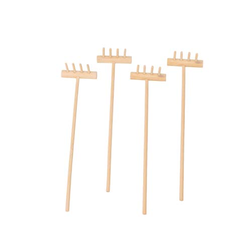 Toyvian Rastrillos de jardín pequeños, rastrillos de zen, herramienta de rastrillo de bambú para niños, juguete de jardín de arena