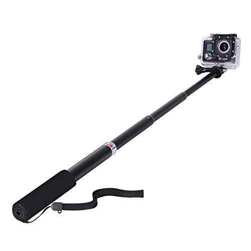 GHB Bastone Selfie per Gopro Asta Selfie Stick Telescopico Palo di Estensione con Monopiede Pole per GoPro Hero 7 5 4 3+ 3 2 SJ4000 SJ5000 Sony Action Cam Macchine Fotografiche ecc Nero