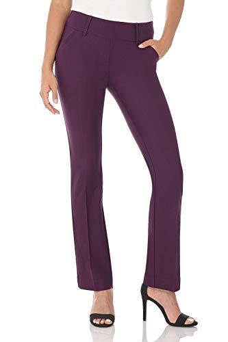 Rekucci Women's Ease into Comfort Classic Bootcut Pant w/Tummy Control (8,Deep Plum)