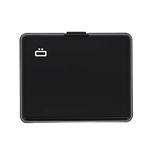 Ögon Smart Wallets - Aluminium Geldbörse Big Stockholm - RFID Blockierung Kartenetui - Bis zu 10 Karten und Banknoten - Schwarz/Interieur Schwarz