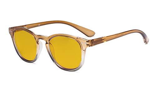 Eyekepper Damen Blaulichtblockierung - Brille mit bernsteinfarbener Filterlinse - Gradients Rahmen Computer Brillen Damen - Braun - Klar Rahmen +2.00