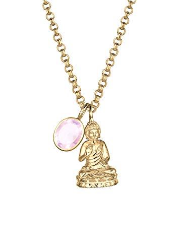 Elli PREMIUM Halskette Damen Buddha mit Rosenquarz Edelstein in 925 Sterling Silber vergoldet