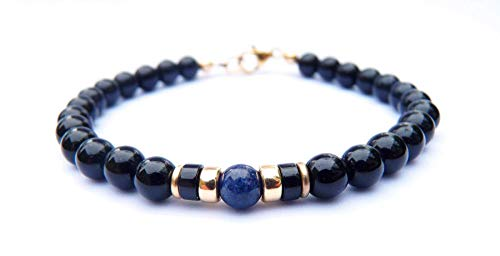 Mens 14K GF Genuine Sapphire September Birthstone Gold Gemstone Beaded Bracelets, Husband Father Son Boyfriend Gifts for Him, Jewels for Gents