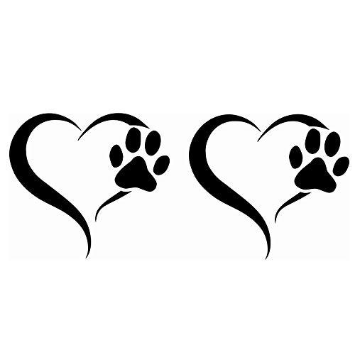 Finest Folia 2er Set Aufkleber Pfote und Herz 10x11cm Hund Katze Sticker für Auto Motorrad Wand Laptop Möbel Pfotensticker Hundepfote selbstklebend (K017 Schwarz Glanz)