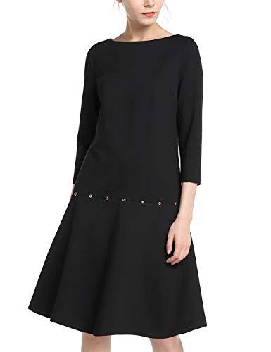 APART schönes Damen Kleid, Jersey Kleid, tief angesetzter Rockpart, lockeres Design, schwarz, 38